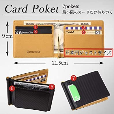 ■未使用□レッド Querencia マネークリップ 小銭入れ付き 本革 メンズ 財布 二つ折り_画像5