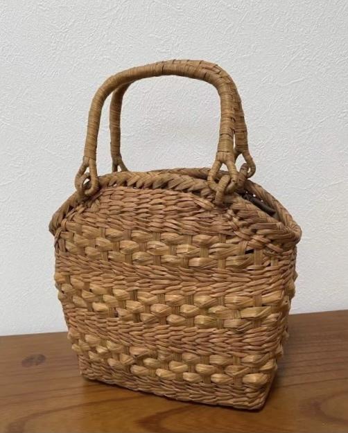 サイズM 新デザイン 未使用品 長野産 職人手編み 網代編み 山葡萄籠バッグ_画像3