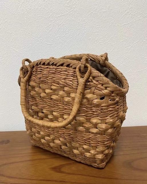 サイズM 新デザイン 未使用品 長野産 職人手編み 網代編み 山葡萄籠バッグ_画像5
