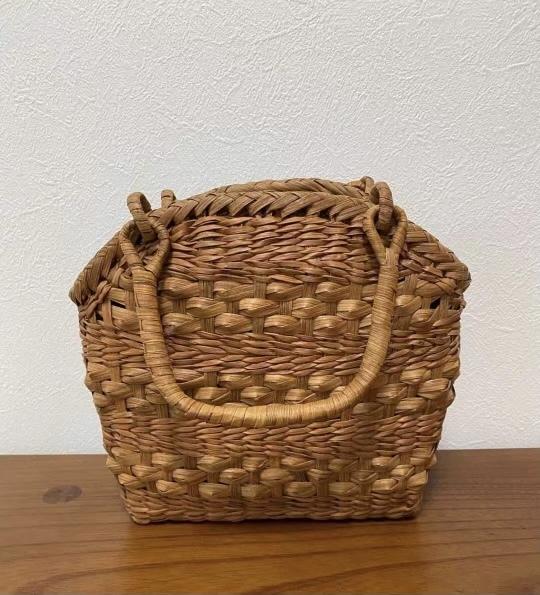サイズM 新デザイン 未使用品 長野産 職人手編み 網代編み 山葡萄籠バッグ_画像4