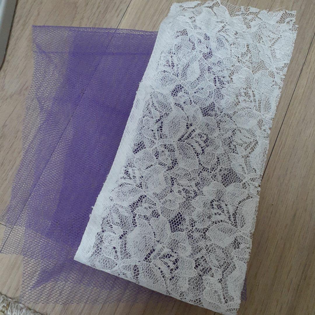 チュール 紫 パープル ハギレ 生地 レース 白 花柄