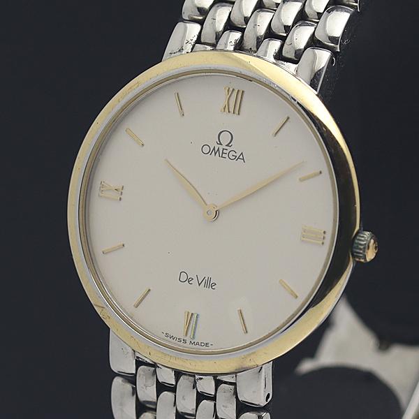 1円★稼働◎良品【オメガ】デビル YG×SS コンビカラー ラウンド ローマン スイス製 QZ メンズ腕時計 A0050908
