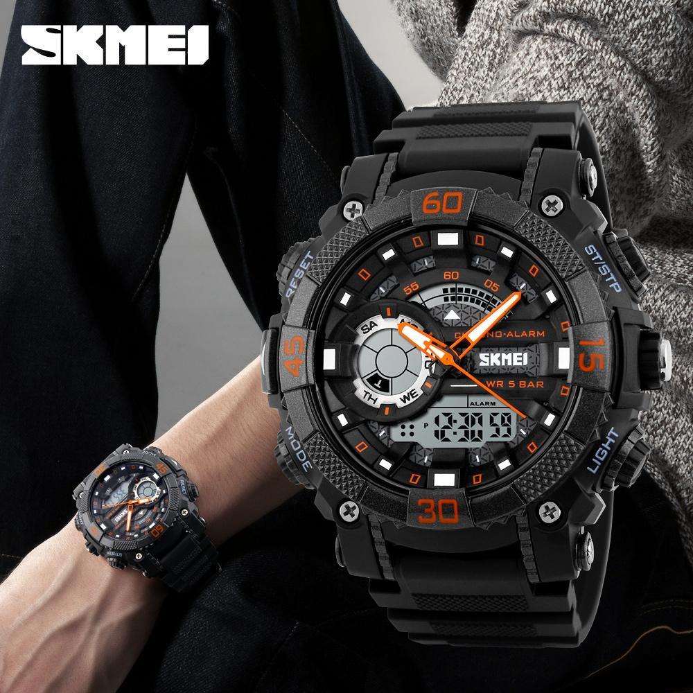メンズ腕時計トップブランドの高級軍時計 Led デジタルアナログクォーツ時計男性スポーツウォッチ防水レロジオ Masculino_画像1