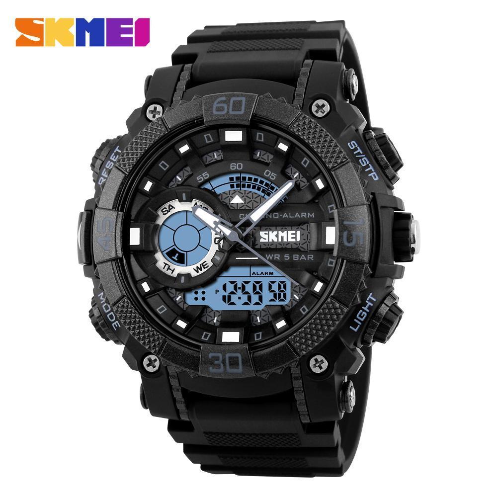 メンズ腕時計トップブランドの高級軍時計 Led デジタルアナログクォーツ時計男性スポーツウォッチ防水レロジオ Masculino_画像3