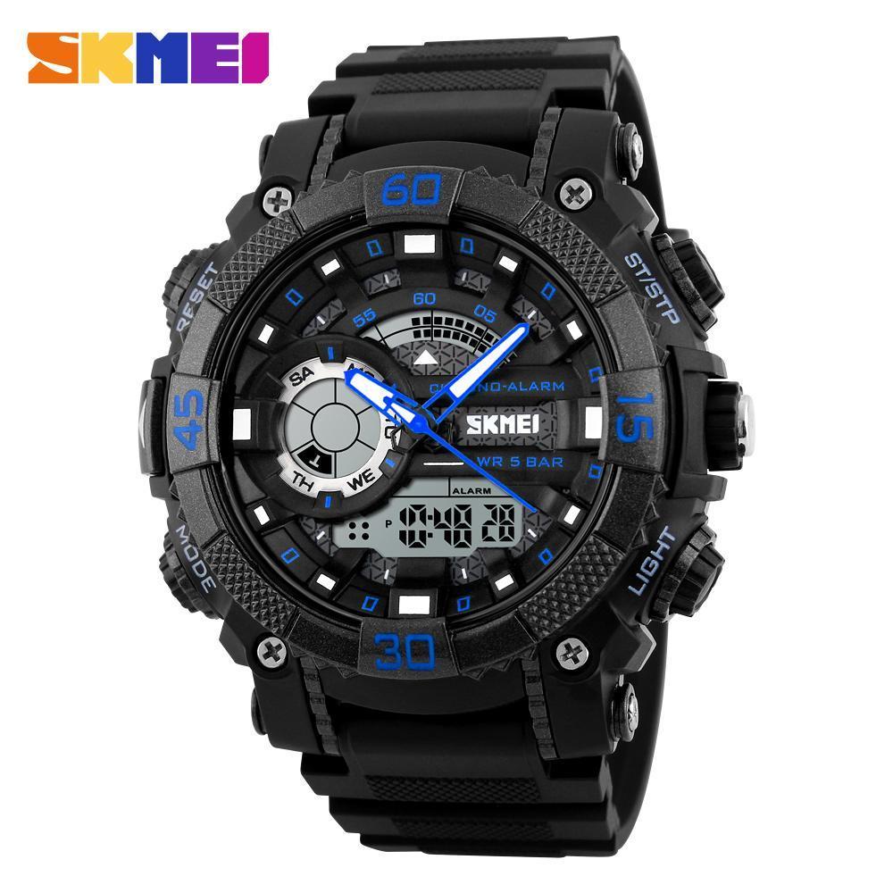 メンズ腕時計トップブランドの高級軍時計 Led デジタルアナログクォーツ時計男性スポーツウォッチ防水レロジオ Masculino_画像4