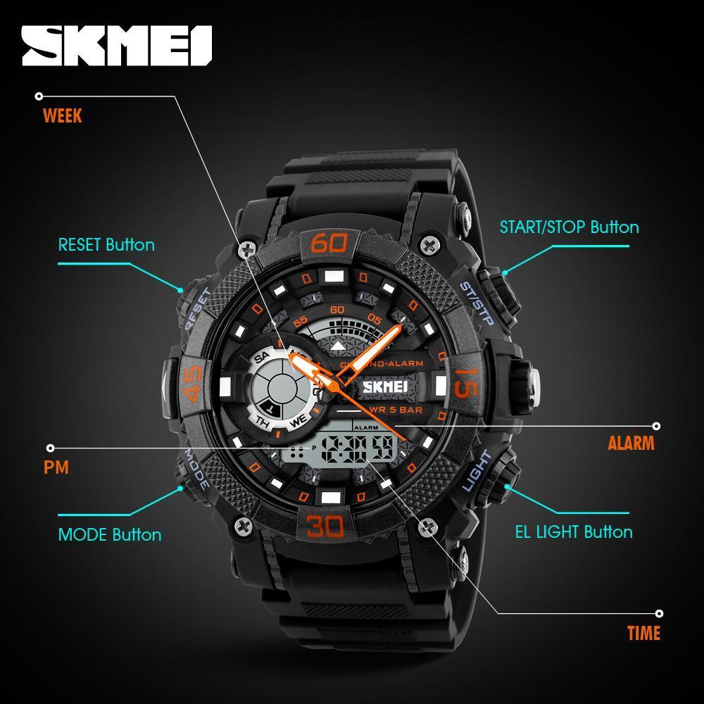 メンズ腕時計トップブランドの高級軍時計 Led デジタルアナログクォーツ時計男性スポーツウォッチ防水レロジオ Masculino_画像5