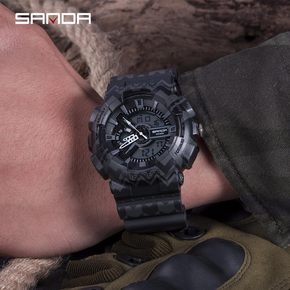 三田ブランドクロノグラフ腕時計男性防水シリコーン時計キャンプ学生ファッションカジュアル腕時計レロジオ 999_画像2