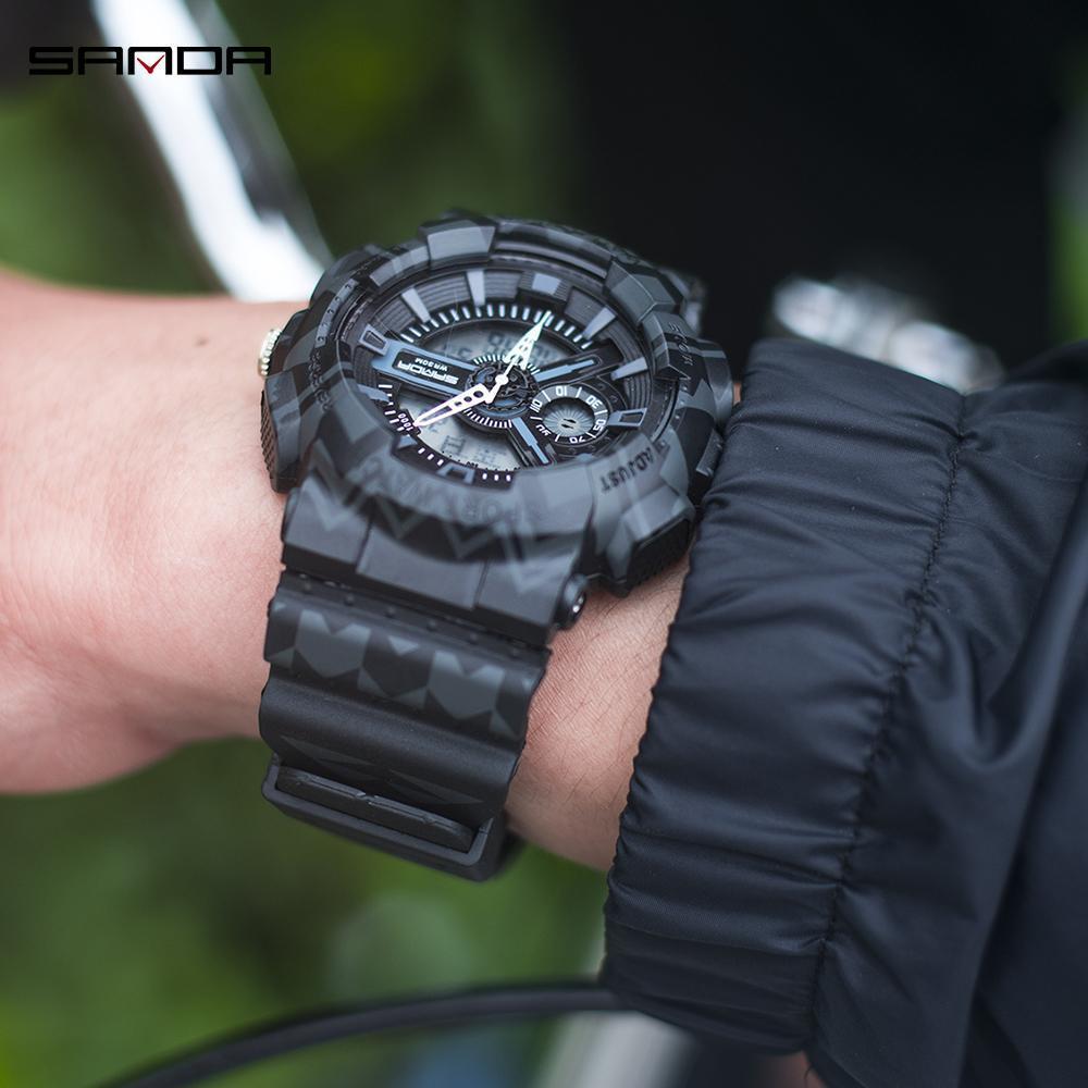 三田ブランドクロノグラフ腕時計男性防水シリコーン時計キャンプ学生ファッションカジュアル腕時計レロジオ 999_画像3