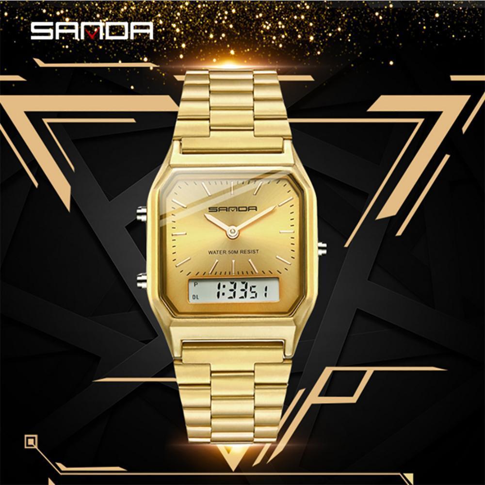 三田ゴールドメンズ腕時計トップブランドの高級クォーツ時計男性ファッション鋼防水ローズゴールデン男性時計レロジオ Masculino 747_画像1