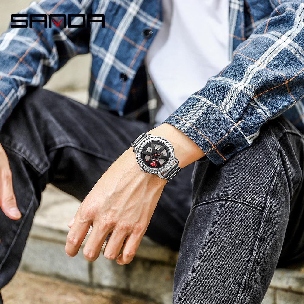 三田男性腕時計トップブランドの高級クォーツ時計ファッションスポーツメンズ腕時計ビジネス防水時計レロジオ masculino P1050_画像5