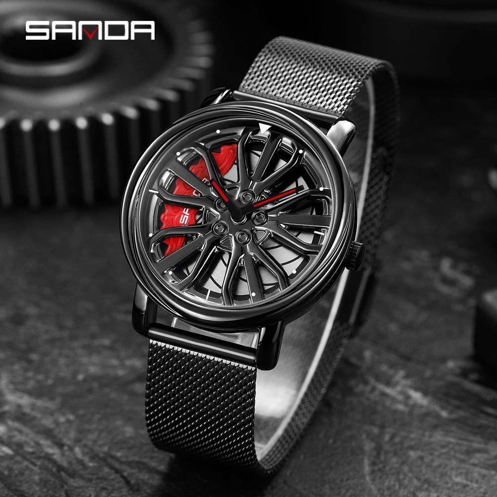 三田トップブランドのメンズ腕時計ファッションの高級クォーツ腕時計ホイールシリーズダイヤル防水時計男性レロジオmasculino 1057_画像1
