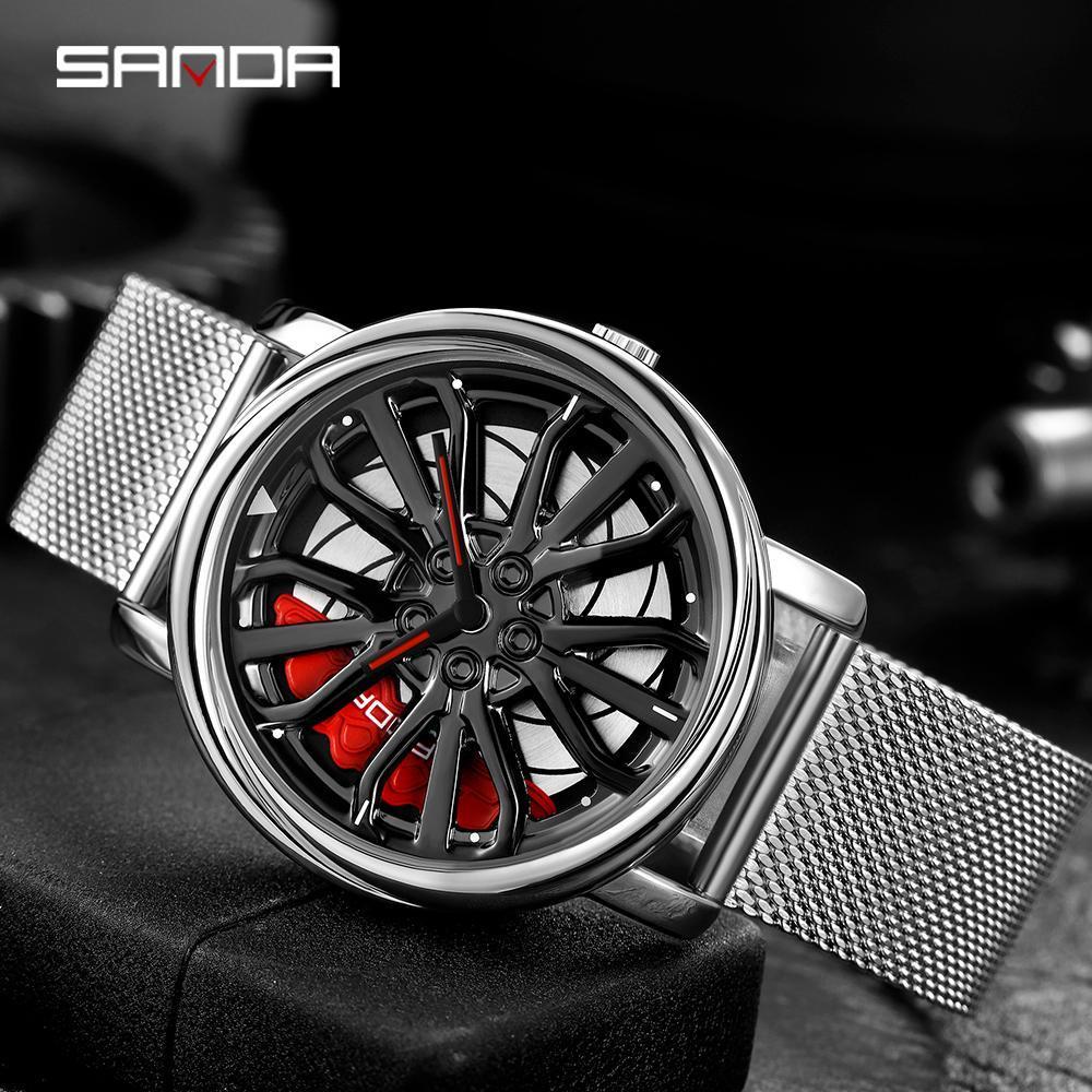 三田トップブランドのメンズ腕時計ファッションの高級クォーツ腕時計ホイールシリーズダイヤル防水時計男性レロジオmasculino 1057_画像2