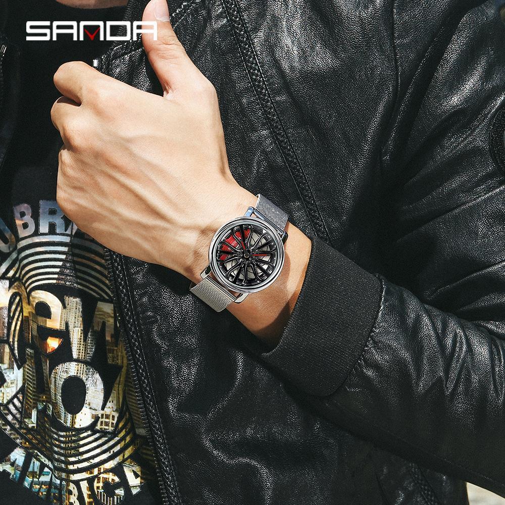 三田トップブランドのメンズ腕時計ファッションの高級クォーツ腕時計ホイールシリーズダイヤル防水時計男性レロジオmasculino 1057_画像5