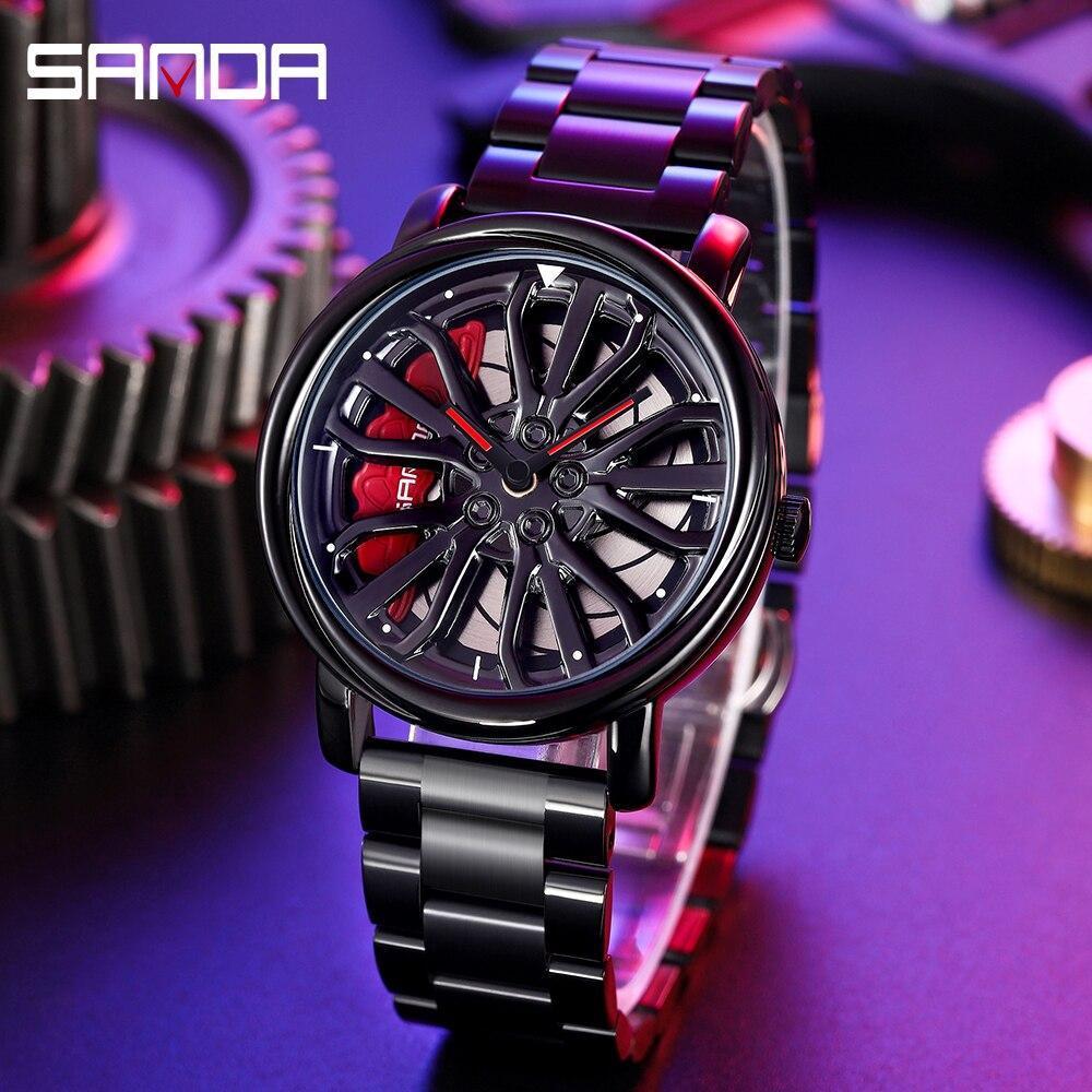 三田トップブランドメンズ腕時計高級ファッションカジュアルホイールシリーズダイヤル腕時計ミリタリークォーツ腕時計レロジオmasculino P_画像1