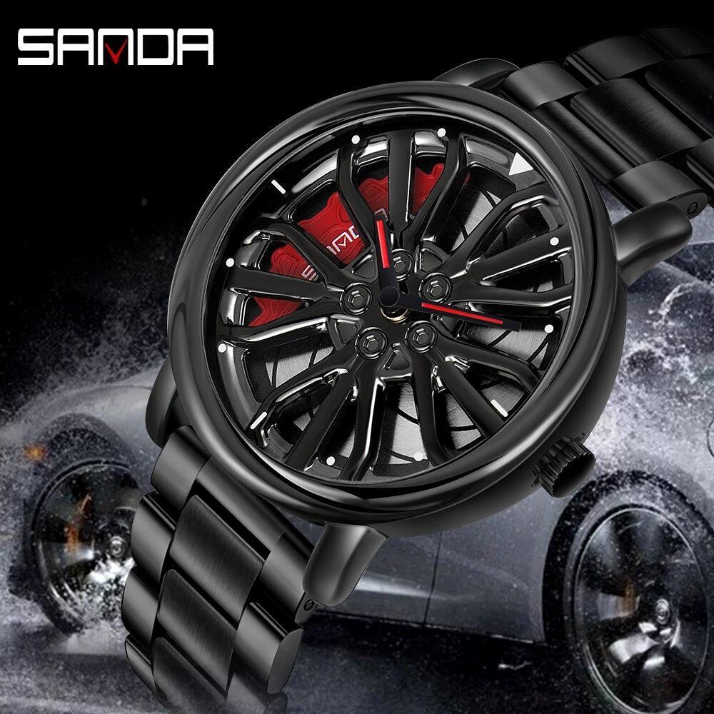 三田トップブランドメンズ腕時計高級ファッションカジュアルホイールシリーズダイヤル腕時計ミリタリークォーツ腕時計レロジオmasculino P_画像2