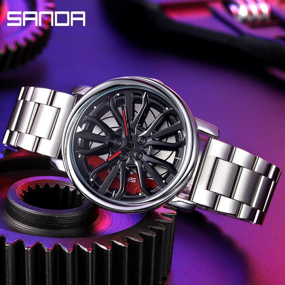 三田トップブランドメンズ腕時計高級ファッションカジュアルホイールシリーズダイヤル腕時計ミリタリークォーツ腕時計レロジオmasculino P_画像3