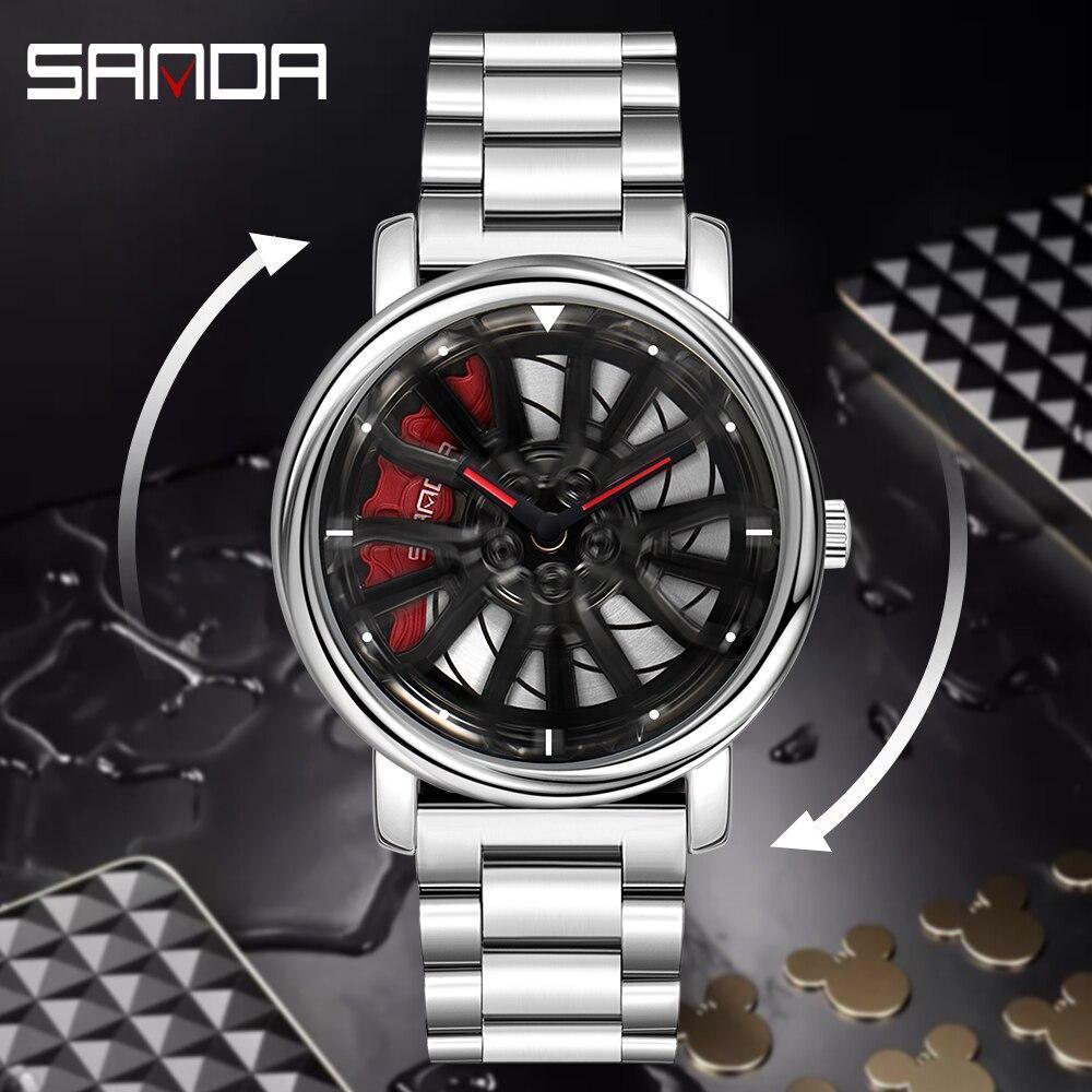 三田トップブランドメンズ腕時計高級ファッションカジュアルホイールシリーズダイヤル腕時計ミリタリークォーツ腕時計レロジオmasculino P_画像4