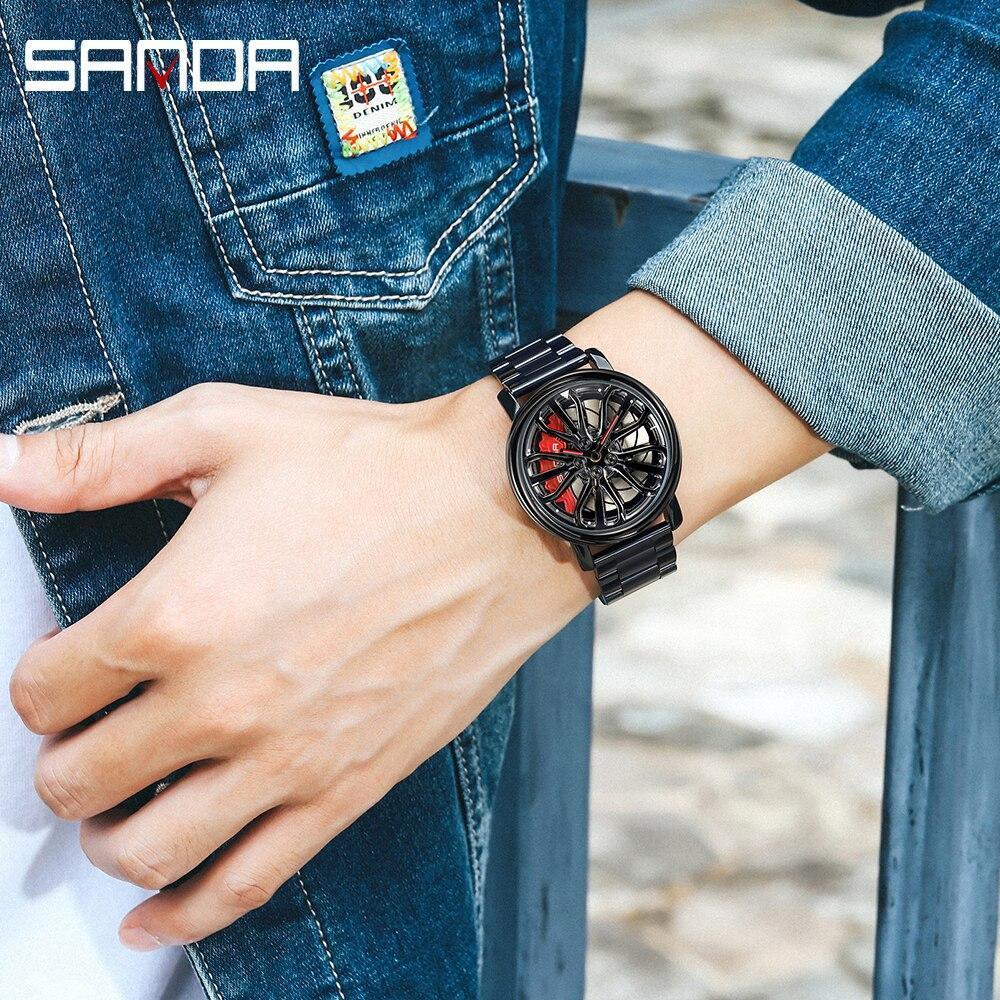 三田トップブランドメンズ腕時計高級ファッションカジュアルホイールシリーズダイヤル腕時計ミリタリークォーツ腕時計レロジオmasculino P_画像5