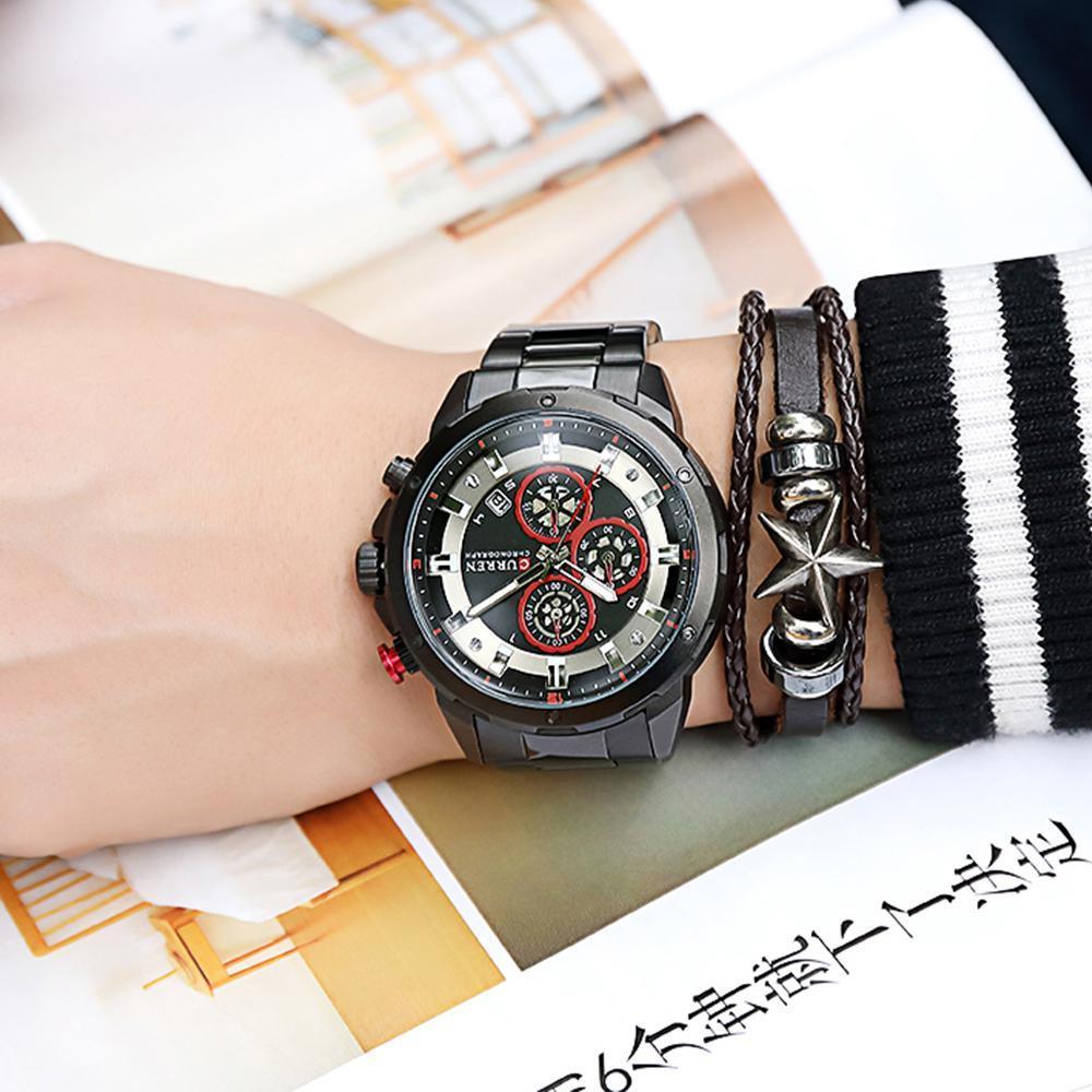 リロイhombresカレン腕時計ファッションスポーツクォーツメンズウォッチトップブランドの高級多機能防水時計レロジオmasculino_画像3