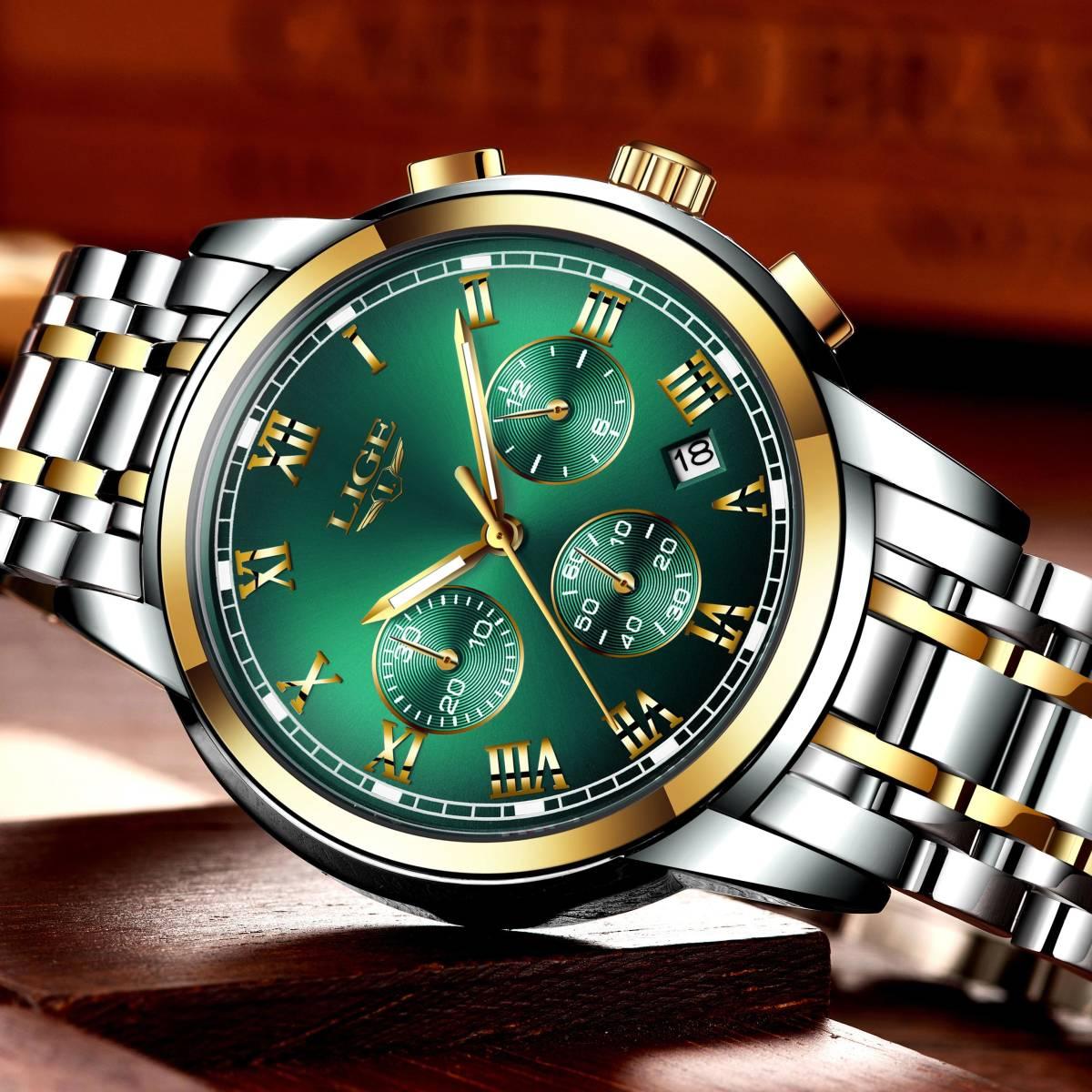2020新ligeトップブランドの高級メンズ腕時計30メートル防水日付時計男性スポーツ腕時計メンズクォーツ腕時計レロジオmasculino_画像2
