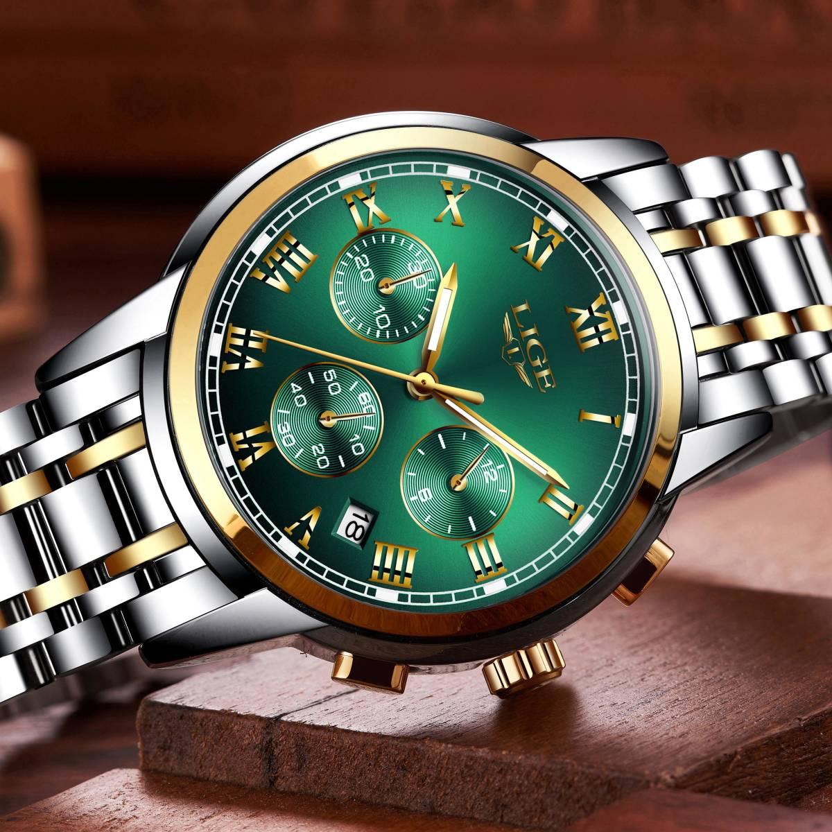 2020新ligeトップブランドの高級メンズ腕時計30メートル防水日付時計男性スポーツ腕時計メンズクォーツ腕時計レロジオmasculino_画像5