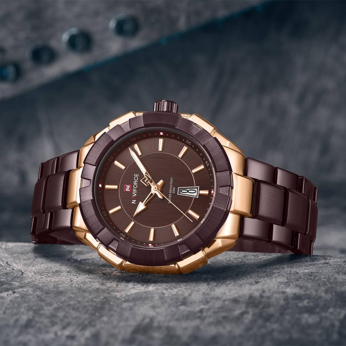 Naviforce ファッション男性高級ブランドのスポーツクォーツ腕時計男性ビッグダイヤル時計防水時計レロジオ masculino_画像2