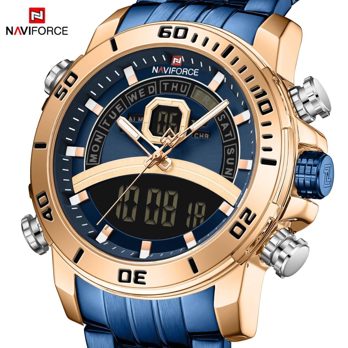 Naviforce 男性のスポーツウォッチミリタリーデジタルデュアルディスプレイ腕時計クォーツ防水時計男性レロジオ masculino 新 2020_画像1