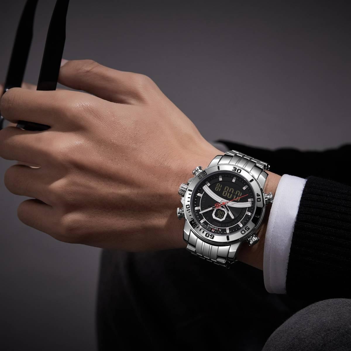 Naviforce 男性のスポーツウォッチミリタリーデジタルデュアルディスプレイ腕時計クォーツ防水時計男性レロジオ masculino 新 2020_画像4