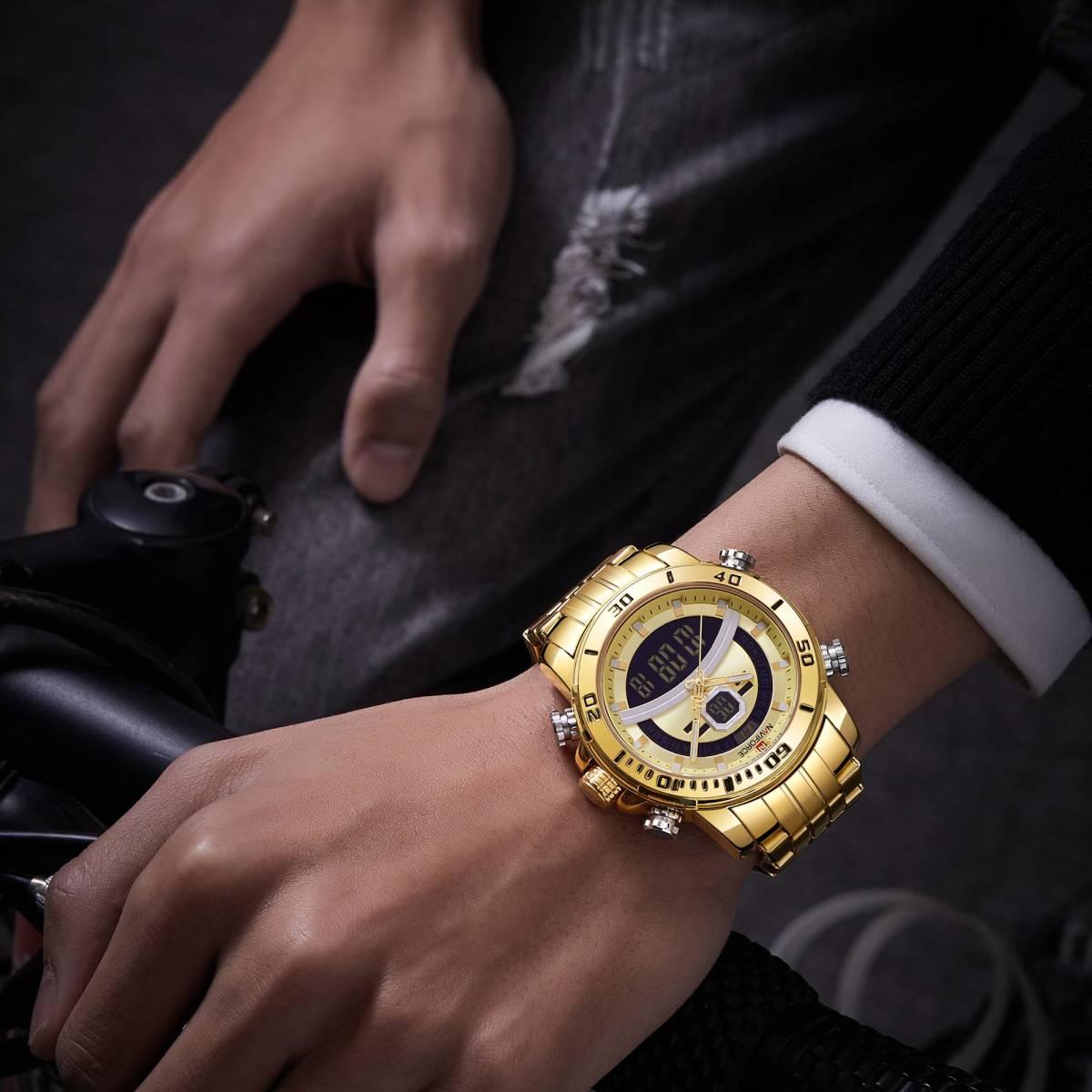 Naviforce 男性のスポーツウォッチミリタリーデジタルデュアルディスプレイ腕時計クォーツ防水時計男性レロジオ masculino 新 2020_画像5