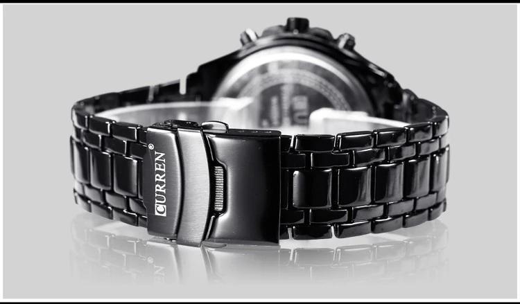 をカレン2018高級ファッションアナログ軍事スポーツメンズ腕時計フル鋼バンド黒クォーツ時計男性レロジオmasculino_画像4