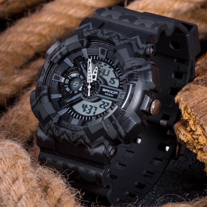 三田ブランドクロノグラフ腕時計男性防水シリコーン時計キャンプ学生ファッションカジュアル腕時計レロジオ 999_画像1