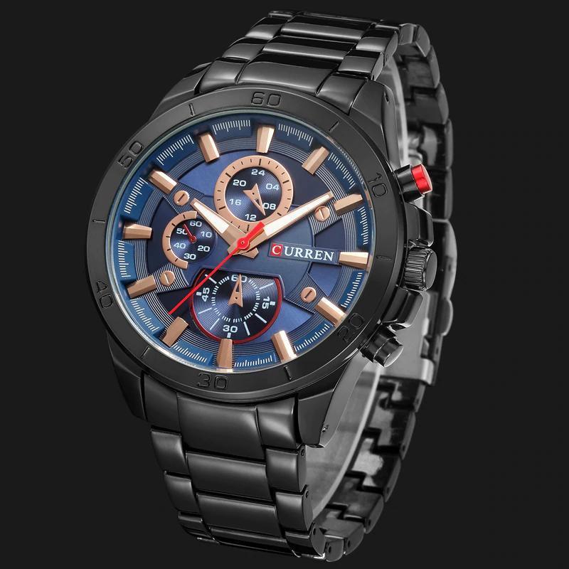 カレン高級ブランドメンズ腕時計ファッションアナログスポーツ腕時計カジュアルクォーツフルスチールバンド男性時計レロジオmasculino_画像2