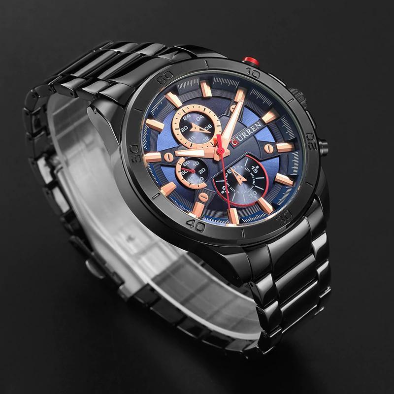 カレン高級ブランドメンズ腕時計ファッションアナログスポーツ腕時計カジュアルクォーツフルスチールバンド男性時計レロジオmasculino_画像3