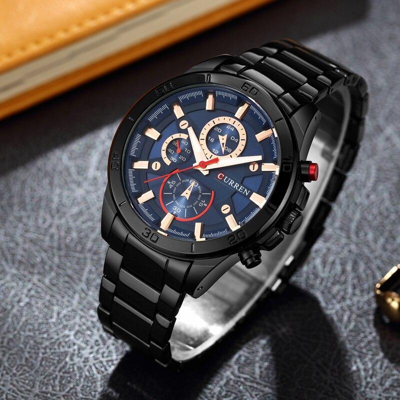 カレン高級ブランドメンズ腕時計ファッションアナログスポーツ腕時計カジュアルクォーツフルスチールバンド男性時計レロジオmasculino_画像4
