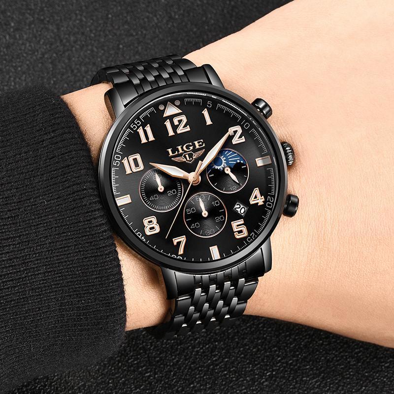 2019ファッションメンズ腕時計ligeトップブランドの高級時計男性スポーツフルスチール防水クォーツ時計ドレス腕時計レロジオmasculino_画像4