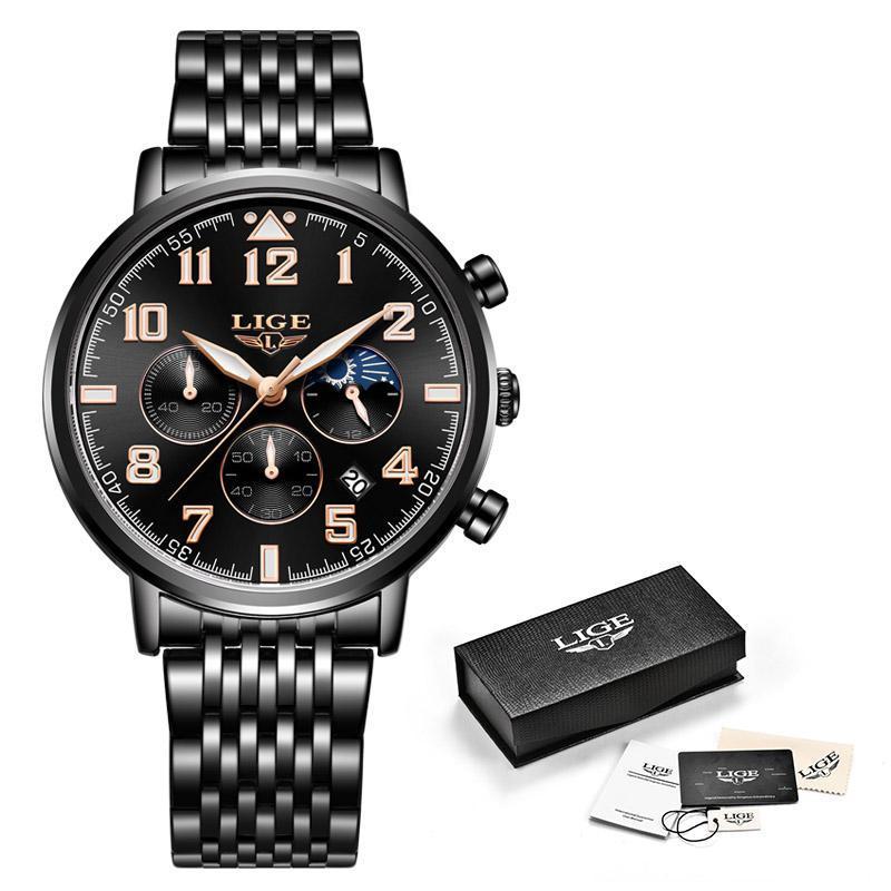 2019ファッションメンズ腕時計ligeトップブランドの高級時計男性スポーツフルスチール防水クォーツ時計ドレス腕時計レロジオmasculino_画像5