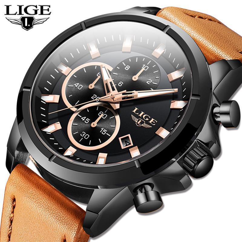 2020 ligeトップブランドのメンズ腕時計ファッションスポーツレザー腕時計メンズ高級日付防水クォーツクロノグラフレロジオmasculino + ボ_画像1