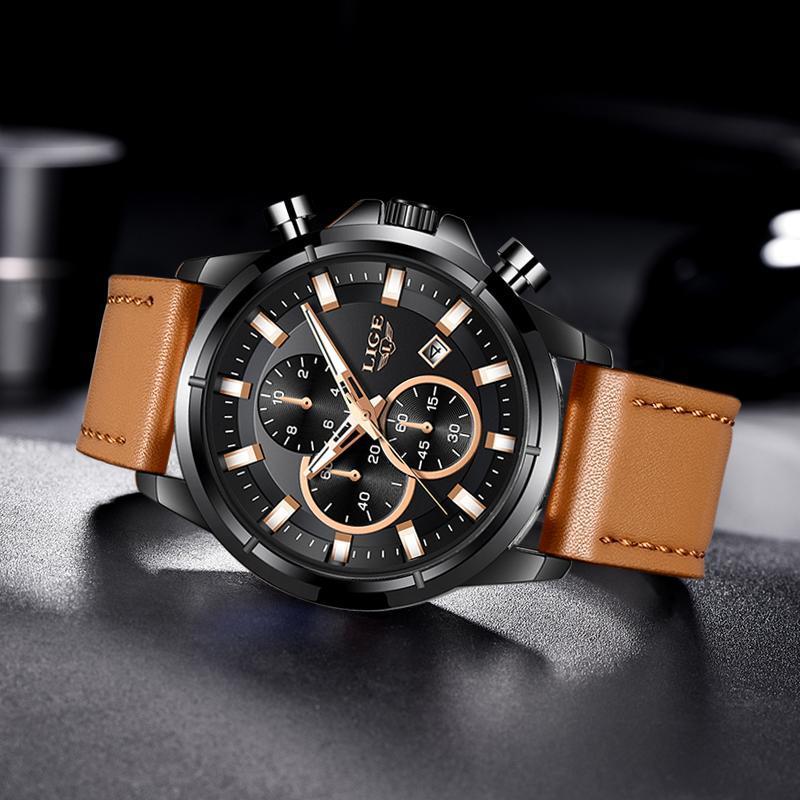 2020 ligeトップブランドのメンズ腕時計ファッションスポーツレザー腕時計メンズ高級日付防水クォーツクロノグラフレロジオmasculino + ボ_画像2