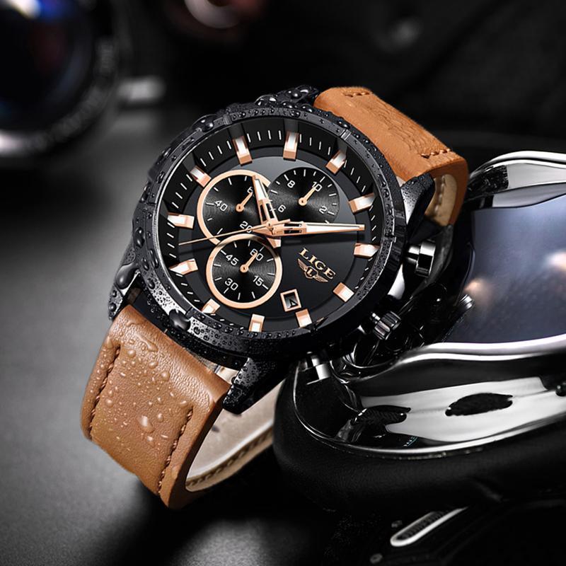2020 ligeトップブランドのメンズ腕時計ファッションスポーツレザー腕時計メンズ高級日付防水クォーツクロノグラフレロジオmasculino + ボ_画像3
