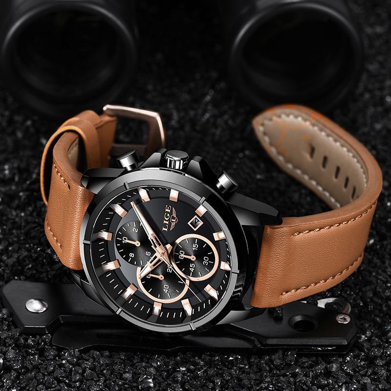 2020 ligeトップブランドのメンズ腕時計ファッションスポーツレザー腕時計メンズ高級日付防水クォーツクロノグラフレロジオmasculino + ボ_画像4