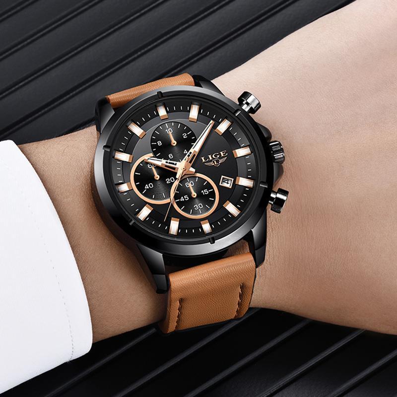 2020 ligeトップブランドのメンズ腕時計ファッションスポーツレザー腕時計メンズ高級日付防水クォーツクロノグラフレロジオmasculino + ボ_画像5