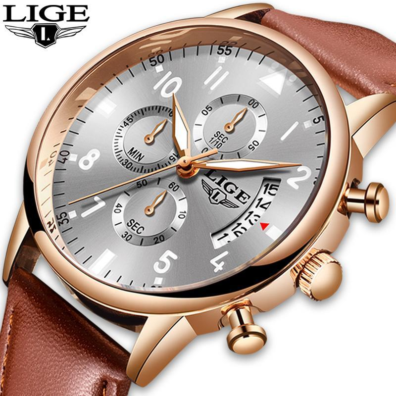 2020 ligeメンズ腕時計トップブランドの高級防水24時間日付クォーツ時計男性腕時計レロジオmasculino_画像1