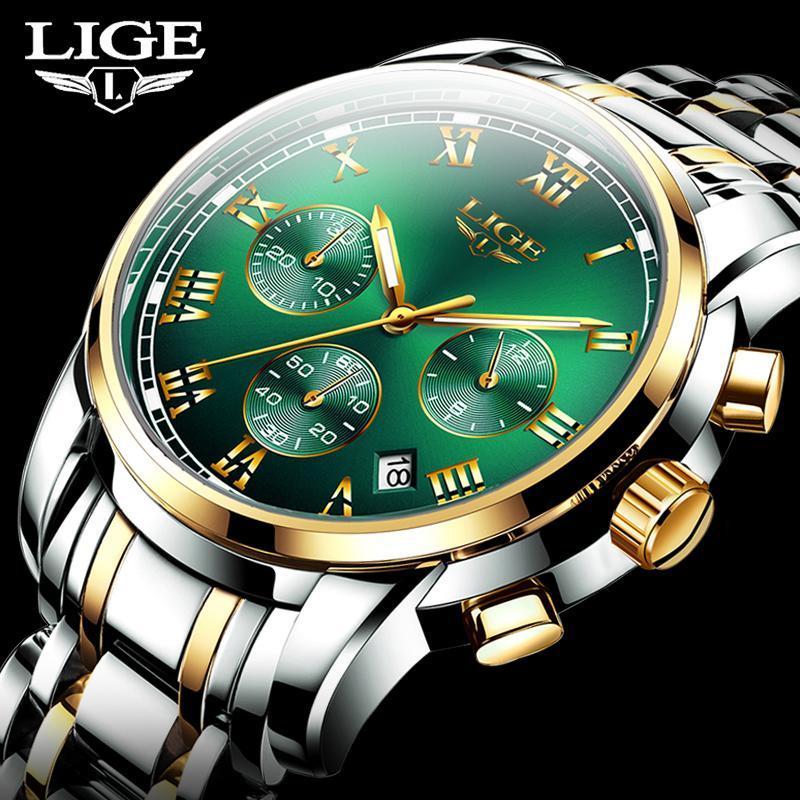 2020新ligeトップブランドの高級メンズ腕時計30メートル防水日付時計男性スポーツ腕時計メンズクォーツ腕時計レロジオmasculino_画像1