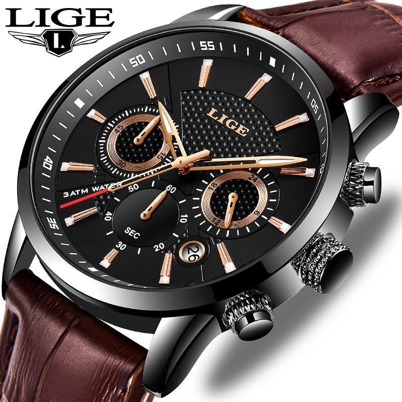Lige 2020新メンズ腕時計トップブランドの高級男性ミリタリースポーツ腕時計メンズレザー防水クォーツ腕時計レロジオmasculino_画像1