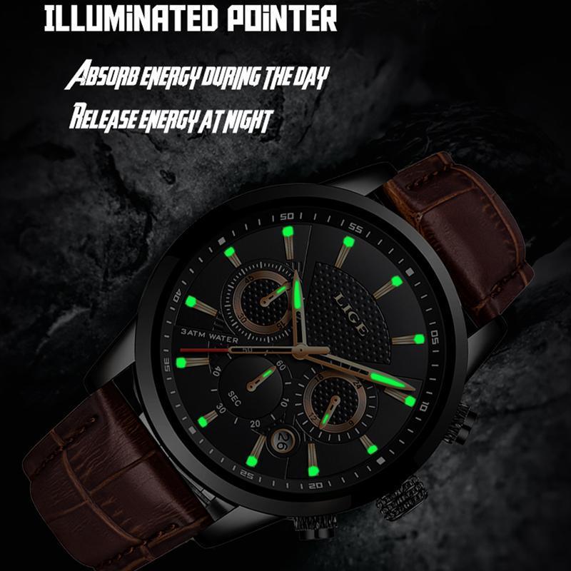 Lige 2020新メンズ腕時計トップブランドの高級男性ミリタリースポーツ腕時計メンズレザー防水クォーツ腕時計レロジオmasculino_画像3