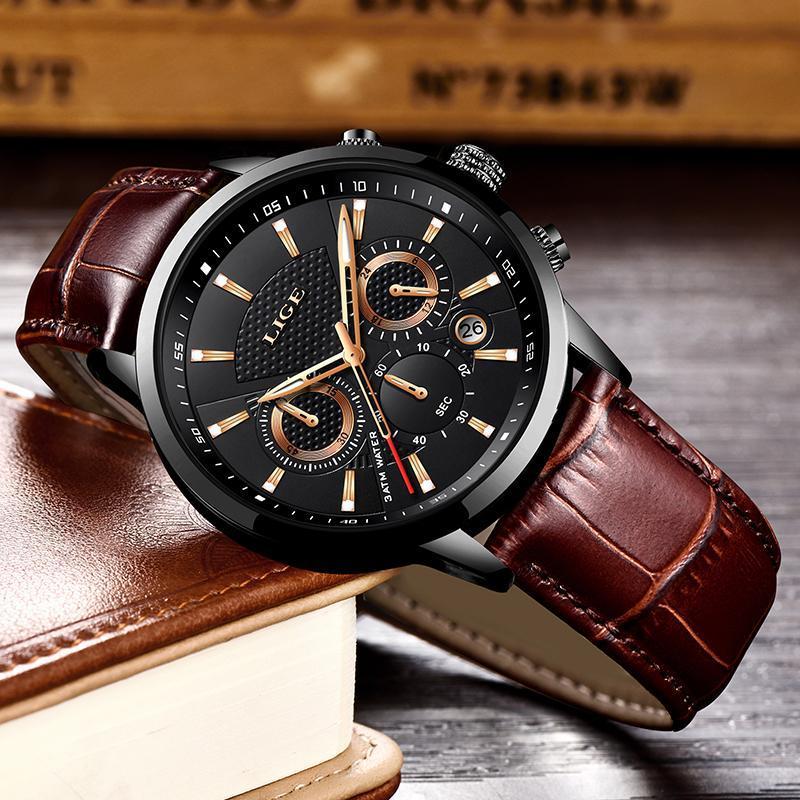 Lige 2020新メンズ腕時計トップブランドの高級男性ミリタリースポーツ腕時計メンズレザー防水クォーツ腕時計レロジオmasculino_画像4