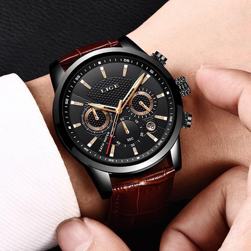 Lige 2020新メンズ腕時計トップブランドの高級男性ミリタリースポーツ腕時計メンズレザー防水クォーツ腕時計レロジオmasculino_画像5
