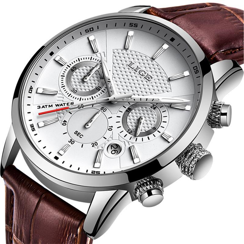 LIGE メンズウォッチトップブランドの高級レザーカジュアルクォーツ腕時計メンズミリタリースポーツ防水時計黒腕時計レロジオ Masculino_画像1