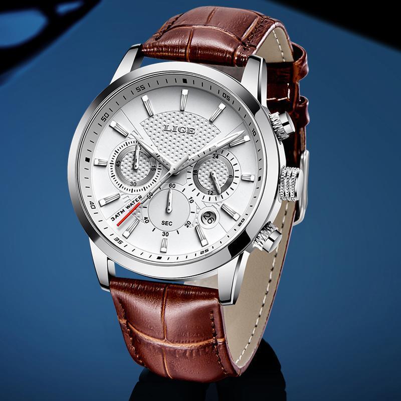 LIGE メンズウォッチトップブランドの高級レザーカジュアルクォーツ腕時計メンズミリタリースポーツ防水時計黒腕時計レロジオ Masculino_画像2