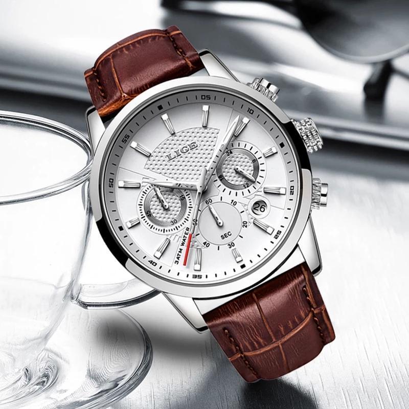 LIGE メンズウォッチトップブランドの高級レザーカジュアルクォーツ腕時計メンズミリタリースポーツ防水時計黒腕時計レロジオ Masculino_画像3
